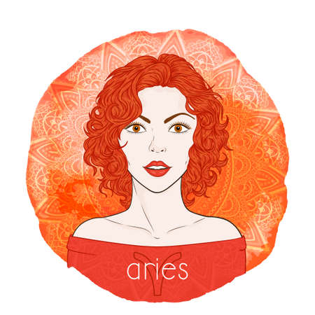 Astrology card with zodiac sign Aries and beautiful woman portrait on a decorative watercolor background with pattern. Fire element. Vector illustration.