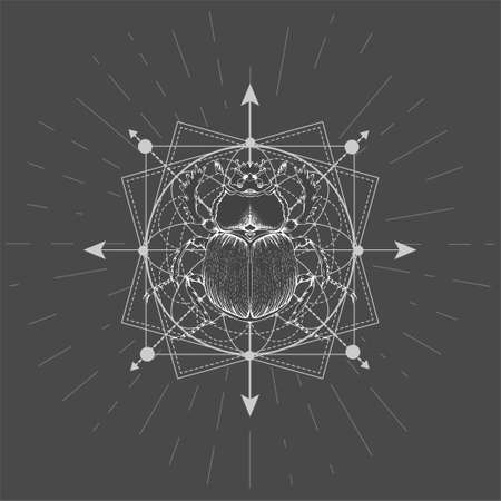 Vector illustration with hand drawn Scarab and Sacred geometric symbol on black background. Abstract mystic sign. White linear shape.