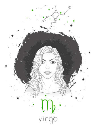 Virgo zodiac sign and constellation. Vector illustration with a beautiful horoscope symbol girl on grunge background.