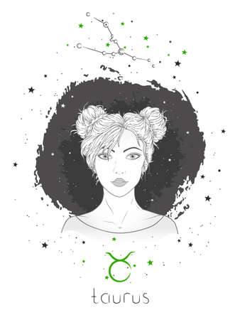 Taurus zodiac sign and constellation. Vector illustration with a beautiful horoscope symbol girl on grunge background.