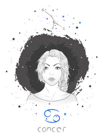 Cancer zodiac sign and constellation. Vector illustration with a beautiful horoscope symbol girl on grunge background. Ilustracja
