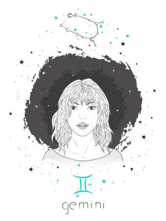 Gemini zodiac sign and constellation. Vector illustration with a beautiful horoscope symbol girl on grunge background.