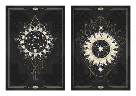 Vector dark illustrations with sacred geometry symbols, grunge textures and frames. Images in black, white and gold. Ilustracja