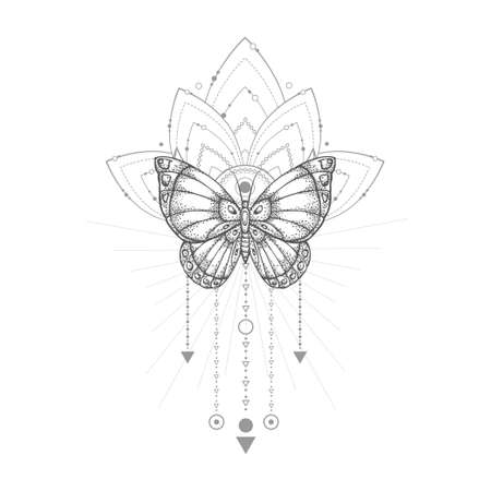 Vector illustration with hand-drawn butterfly and Sacred geometric symbol on white background. Abstract mystic sign. Black linear shape. Ilustracja