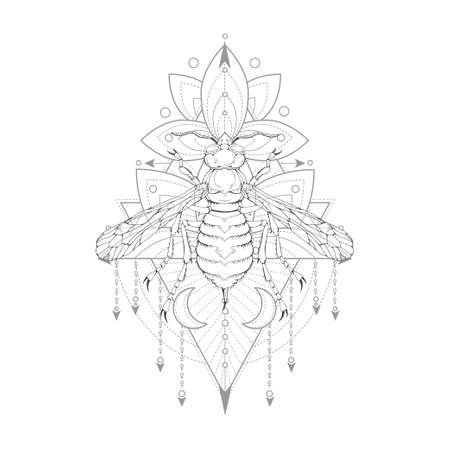Vector illustration with hand drawn wasp and Sacred symbol on white background. Abstract mystic sign. Black linear shape. For you design, tattoo or magic craft.