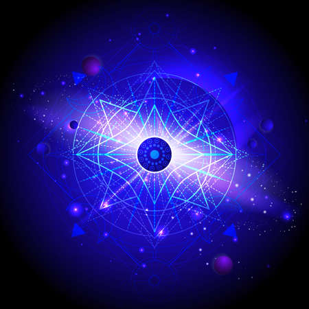Vector illustration of Sacred geometric symbol against the space background with planets and stars. Mystic sign drawn in lines. Image in blue color.