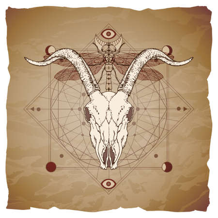Goat skull, dragonfly and Sacred geometric symbol on vintage paper background with torn edges. Abstract mystic sign. Image in sepia and red color.