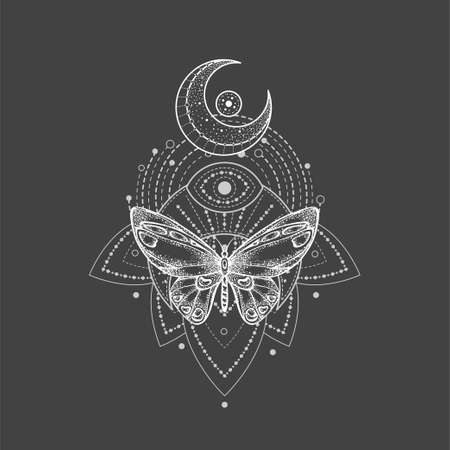 Vector illustration with hand drawn butterfly and Sacred geometric symbol on black background. Abstract mystic sign. White linear shape. For you design, tattoo or magic craft. Ilustracja