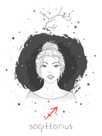 Sagittarius zodiac sign and constellation. Vector illustration with a beautiful horoscope symbol girl on grunge background.