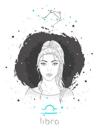 Libra zodiac sign and constellation. Vector illustration with a beautiful horoscope symbol girl on grunge background. Ilustracja
