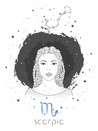 Scorpio zodiac sign and constellation. Vector illustration with a beautiful horoscope symbol girl on grunge background. Ilustracja