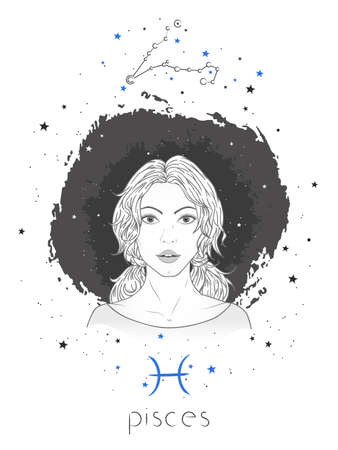 Pisces zodiac sign and constellation. Vector illustration with a beautiful horoscope symbol girl on grunge background. Ilustracja