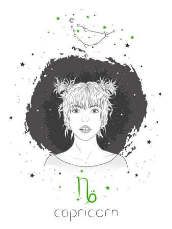 Capricorn zodiac sign and onstellation. Vector illustration with a beautiful horoscope symbol girl on grunge background. Ilustracja