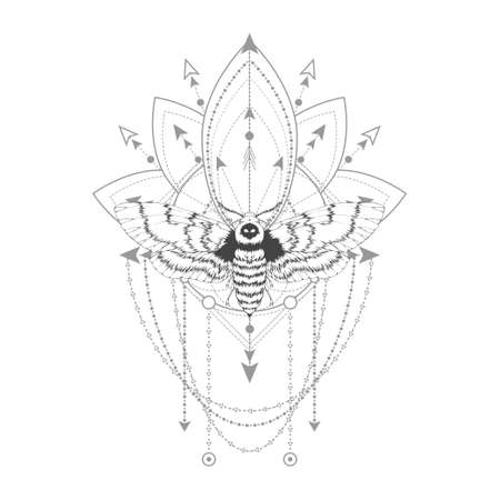 Vector illustration with hand drawn dead head moth and Sacred geometric symbol on white background. Abstract mystic sign. Black linear shape. For you design, tattoo or magic craft.
