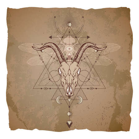 Goat skull, dragonfly and Sacred geometric symbol on vintage paper background with torn edges. Abstract mystic sign. Image in sepia color.