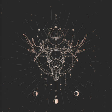 Vector illustration with hand drawn Moose skull and Sacred geometric symbol on black vintage background. Abstract mystic sign. Gold linear shape. For you design and magic craft. Ilustracja