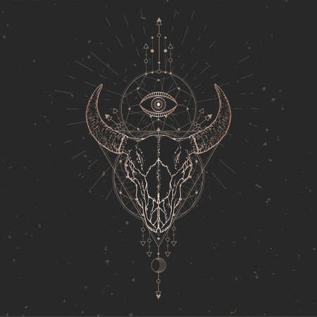 Vector illustration with hand drawn Bull skull and Sacred geometric symbol on black vintage background. Abstract mystic sign. Gold linear shape. For you design and magic craft. Ilustracja