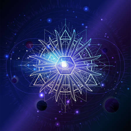 Illustration of Sacred geometric symbol against the space background with planets and stars. Mystic sign drawn in lines. Image in purple color.