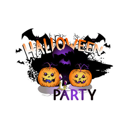 Vector Illustration with smiling Pumpkins, bats, web and lettering Halloween party on a white background. Cartoon style. Ilustracja