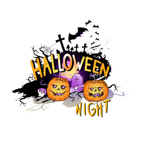 Vector Illustration with smiling Pumpkins, bats and lettering Halloween Night on a white background. Cartoon style.