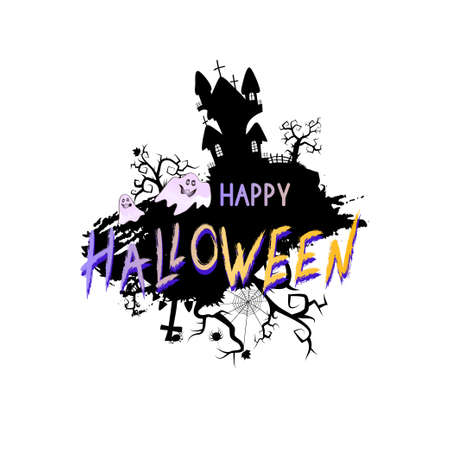 Vector Illustration with sinister castle, ghosts and lettering Happy Halloween on a white background.