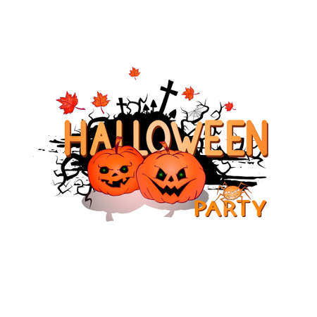 Vector Illustration with cute Pumpkins, spider, web, and lettering Halloween party on a white background. Cartoon style. Ilustracja