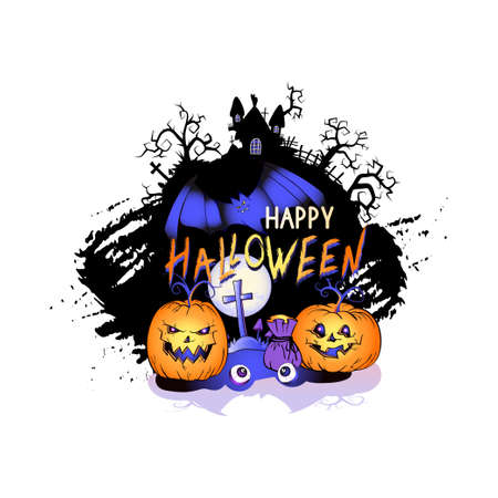 Vector Illustration with smiling Pumpkins, bats, full moon and lettering Happy Halloween on a white background. Cartoon style. Ilustracja