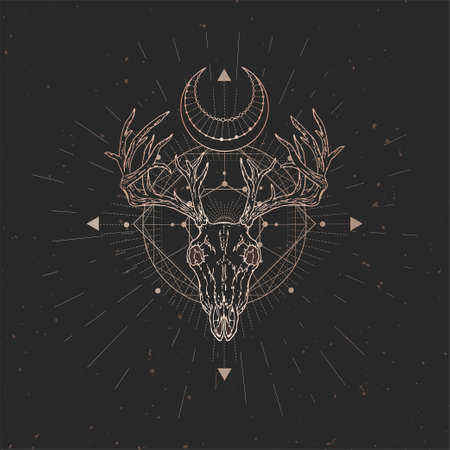 Vector illustration with hand drawn Deer skull and Sacred geometric symbol on black vintage background. Abstract mystic sign. Gold linear shape.