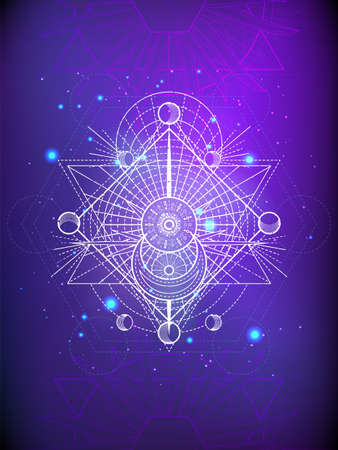 Vector illustration of Sacred geometry symbol on abstract background. Mystic sign drawn in lines. Image in purple color.