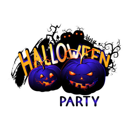 Halloween Illustration with sinister Pumpkins and lettering on a white background. Cartoon style.