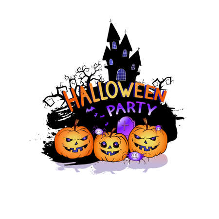 Vector Illustration with smiling Pumpkins, bats and lettering Halloween Party on a white background. Cartoon style.