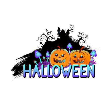 Halloween illustration with smiling Pumpkins, sinister castle and lettering on a white background. Cartoon style.