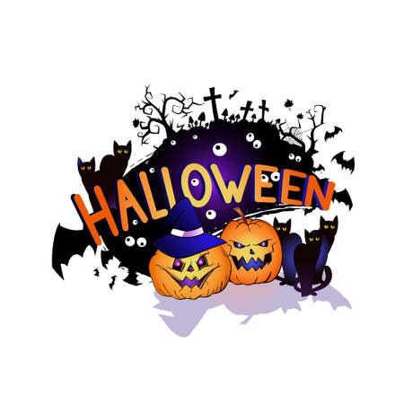 Halloween illustration with smiling Pumpkins, bats and black cats on a white background. Cartoon style.