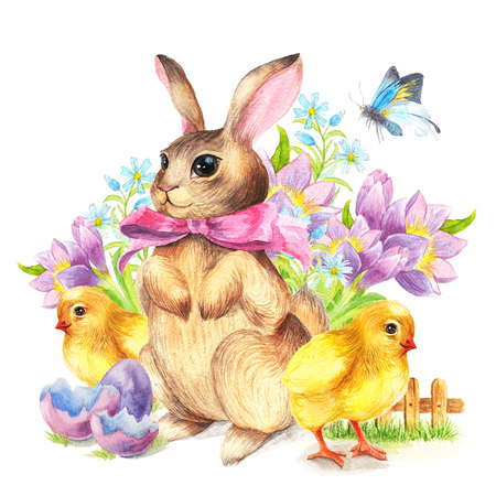 Happy Easter Greeting card Bunny and chicken