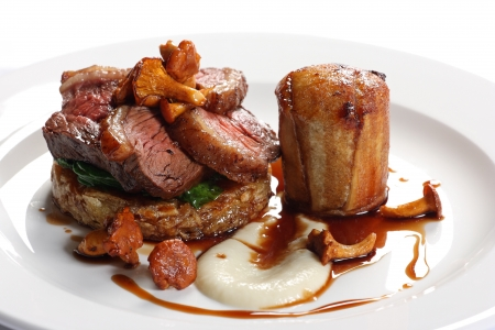 Cap steak and oxtail with rosti potatoes and mushroom mousse