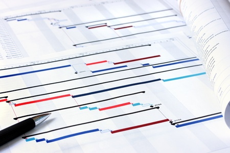 project deadline: Project plan Gantt charts with shallow depth of field