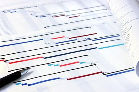 zeitplan: Projektplan Gantt Charts mit geringen Schärfentiefe Lizenzfreie Bilder