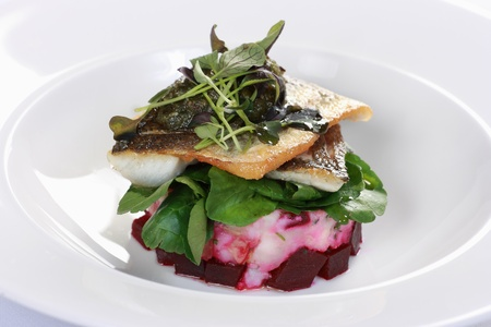 Pan-fried sea bass on a bed of crushed potato and beetroot with watercress salad Standard-Bild