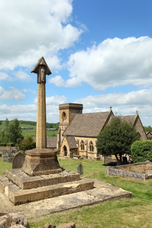 gloucestershire: St Barnabas church in the beautiful Cotswolds village of Snowshill