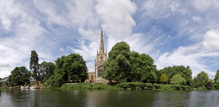 stratford: Stratford-upon-Avon panorama  Featuring Holy Trinity church and the river Avon
