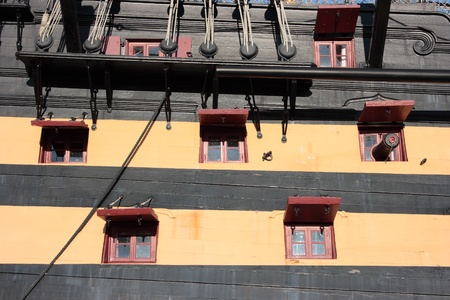 Detail of the starboard side of HMS Victory Stock Photo - 15255837