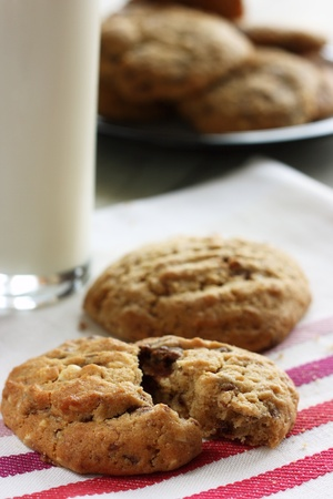 Homemade chocolate and nut cookies with a glass of milk