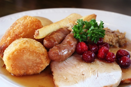 roast turkey: Traditional turkey dinner