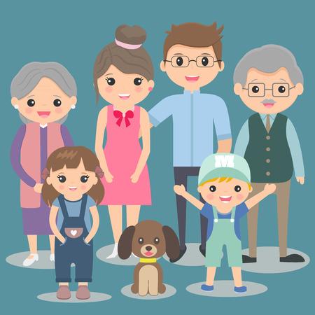Big happy family ,vector illustration.