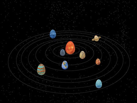 Digital illustration Easter solar system with egg planets on the background of the starry universe for greeting cards. Happy easter greeting without text.