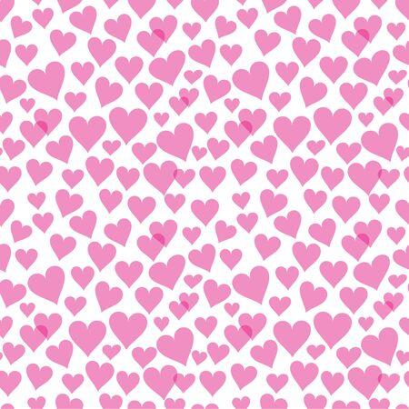 Pink transparent hearts seamless pattern