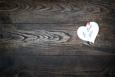 love confession: Love confession on the dark wooden background Stock Photo