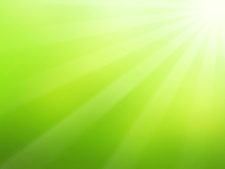 green: Green spring background with sun and sunrays