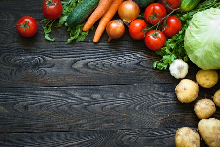 background wood: Organic food - fresh vegetables. Useful and healthy eating Stock Photo