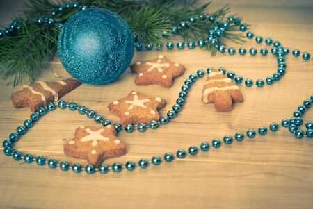 tinting: Christmas decoration of the cookies with white icing. Image is tinting. Stock Photo